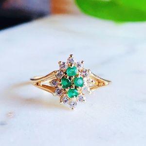 Jewelry - Estate 14K Gold Diamond Emerald Cluster Ring